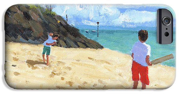 Cricket iPhone 6s Case - Bowling And Batting, Abersoch by Andrew Macara