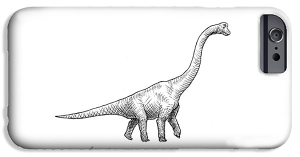 Brachiosaurus Black And White Dinosaur Drawing  IPhone 6s Case by Karen Whitworth