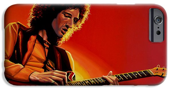 Jimmy Page iPhone 6s Case - Brian May Of Queen Painting by Paul Meijering