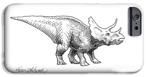 Cera The Triceratops - Dinosaur Ink Drawing IPhone 6s Case by Karen Whitworth