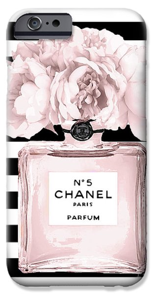 Perfume iPhone 6s Case - Chanel N.5, Black And White Stripes by Del Art