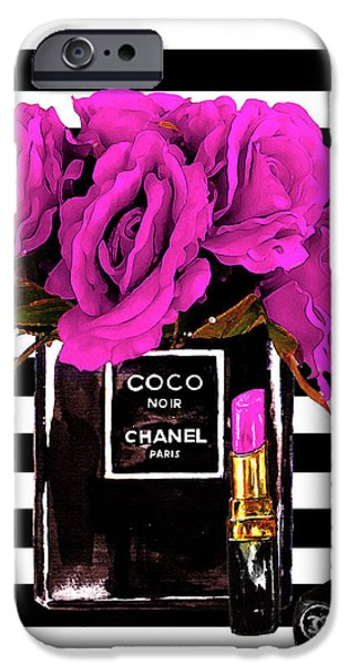 Perfume iPhone 6s Case - Chanel Noir Perfume With Flowers by Del Art