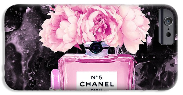 Perfume iPhone 6s Case - Chanel Print Chanel Poster Chanel Peony Flower Black Watercolor by Del Art