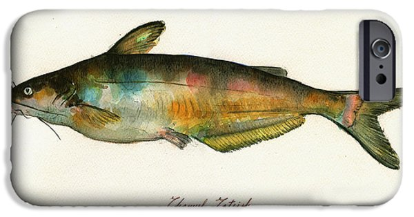 Channel Catfish Fish Animal Watercolor Painting IPhone 6s Case by Juan  Bosco