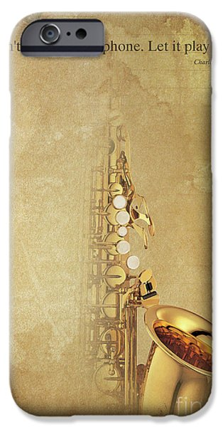 Charlie Parker Saxophone Brown Vintage Poster And Quote, Gift For Musicians IPhone 6s Case by Pablo Franchi