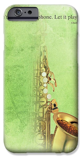 Charlie Parker Saxophone Green Vintage Poster And Quote, Gift For Musicians IPhone 6s Case by Pablo Franchi