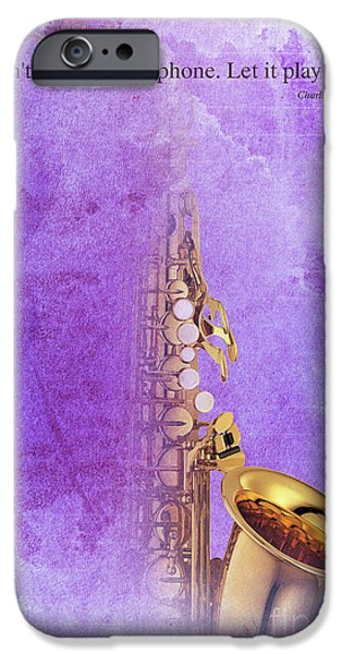 Charlie Parker Saxophone Purple Vintage Poster And Quote, Gift For Musicians IPhone 6s Case by Pablo Franchi