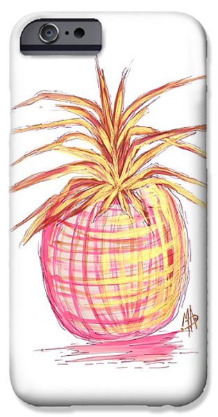 Chic Pink Metallic Gold Pineapple Fruit Wall Art Aroon Melane 2015 Collection By Madart IPhone 6s Case by Megan Duncanson