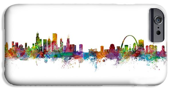 Chicago And St Louis Skyline Mashup IPhone 6s Case by Michael Tompsett