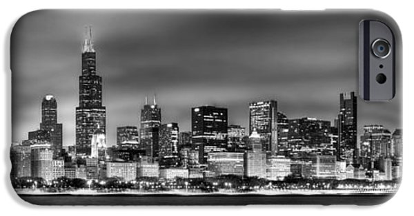 Cities iPhone 6s Case - Chicago Skyline At Night Black And White by Jon Holiday