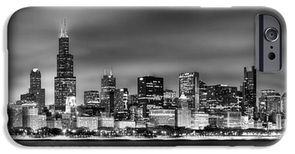 City Scenes iPhone 6s Case - Chicago Skyline At Night Black And White by Jon Holiday