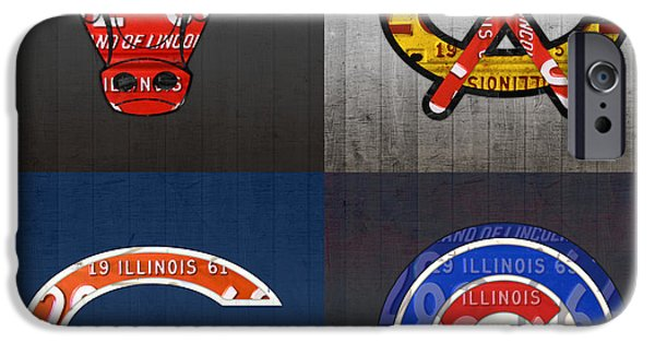 Chicago Sports Fan Recycled Vintage Illinois License Plate Art Bulls Blackhawks Bears And Cubs IPhone 6s Case