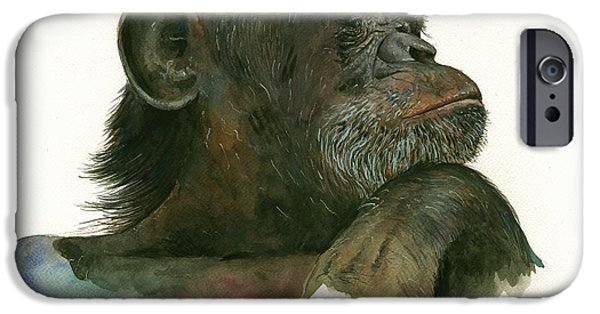 Chimpanzee iPhone 6s Case - Chimp Portrait by Juan Bosco
