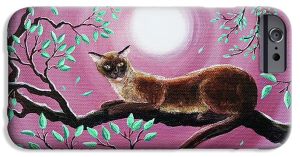 Chocolate Burmese Cat In Dancing Leaves IPhone 6s Case by Laura Iverson