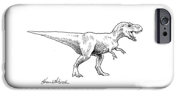 Tyrannosaurus Rex Dinosaur T-rex Ink Drawing Illustration IPhone 6s Case by Karen Whitworth