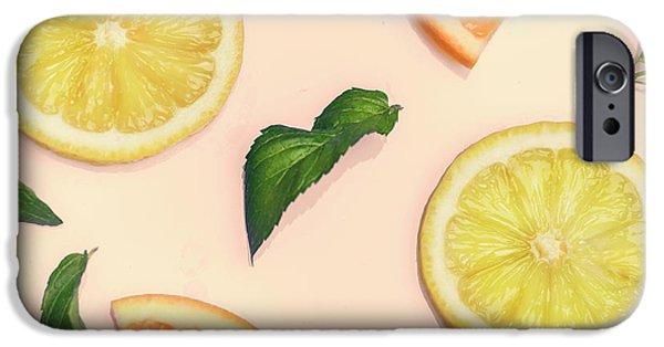 Smoothie iPhone 6s Case - Citrus Pattern On Retro Pink Background by Jelena Jovanovic