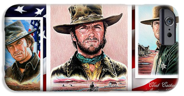 Coloured Pencil iPhone 6s Case - Clint Eastwood American Legend 2nd Ver by Andrew Read