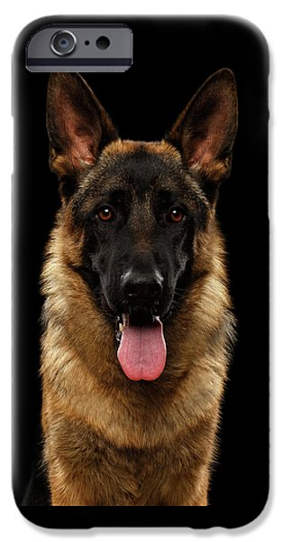 Closeup Portrait Of German Shepherd On Black  IPhone 6s Case by Sergey Taran
