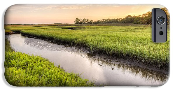 Coastal Florida Landscape - Late Afternoon On The Marsh  IPhone Case by Bill Swindaman