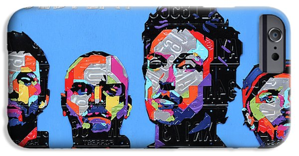 Coldplay Band Portrait Recycled License Plates Art On Blue Wood IPhone 6s Case