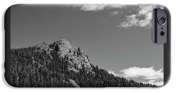 IPhone 6s Case featuring the photograph Colorado Buffalo Rock With Waxing Crescent Moon In Bw by James BO Insogna