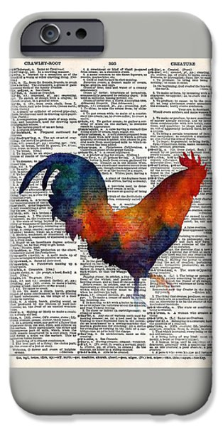 Rooster iPhone 6s Case - Colorful Rooster On Vintage Dictionary by Hailey E Herrera