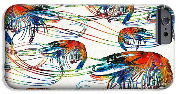 Scuba Diving iPhone 6s Case - Colorful Shrimp Collage Art By Sharon Cummings by Sharon Cummings