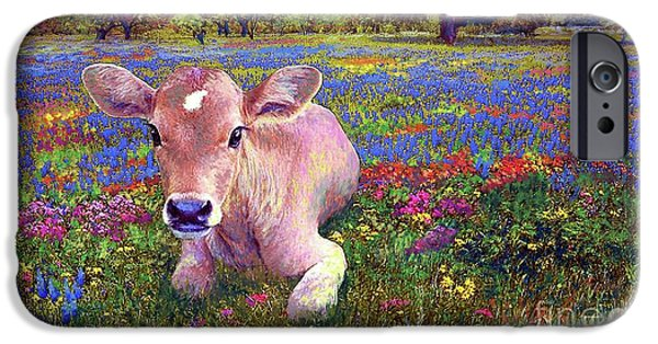 Cow iPhone 6s Case - Contented Cow In Colorful Meadow by Jane Small