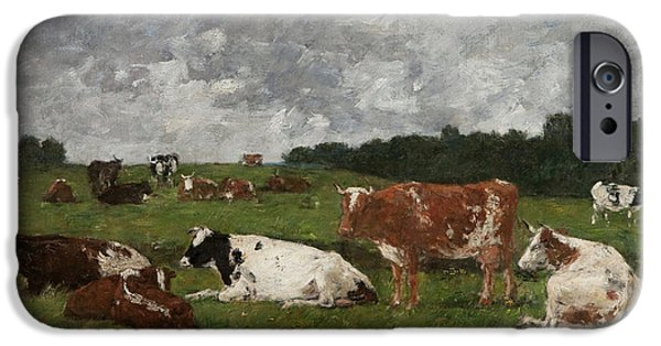 Cows At The Pasture IPhone 6s Case by Eugene Louis Boudin
