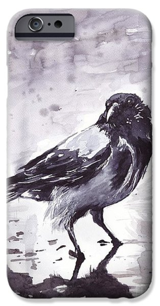 Pigeon iPhone 6s Case - Crow Watercolor by Suzann's Art