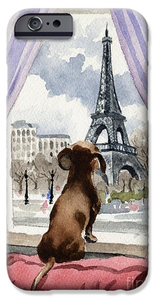 Contemporary Realism iPhone 6s Case - Dachshund In Paris by David Rogers