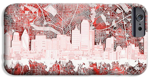 Dallas Skyline Map Red 2 IPhone 6s Case