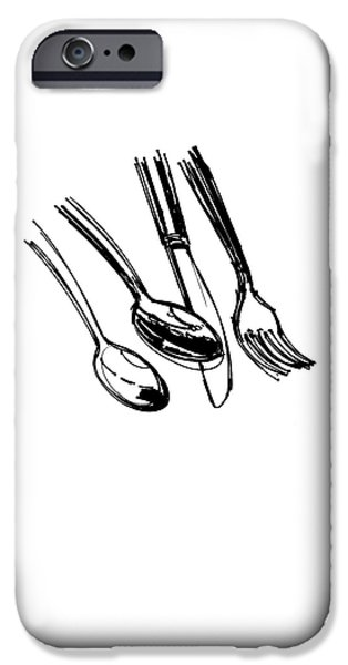 Diner Drawing Spoons, Knife, And Fork IPhone 6s Case by Chad Glass