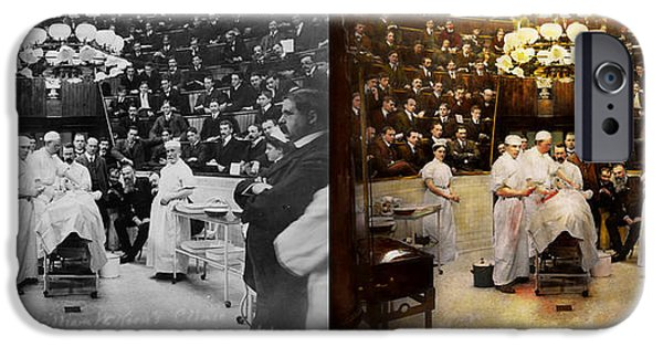Doctor - Surgeon - Standing Room Only 1902 Side By Side IPhone Case by Mike Savad