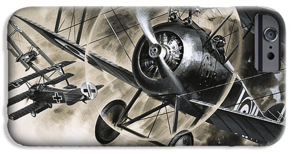 Dog Fight Between British Biplanes And A German Triplane IPhone 6s Case by Wilf Hardy