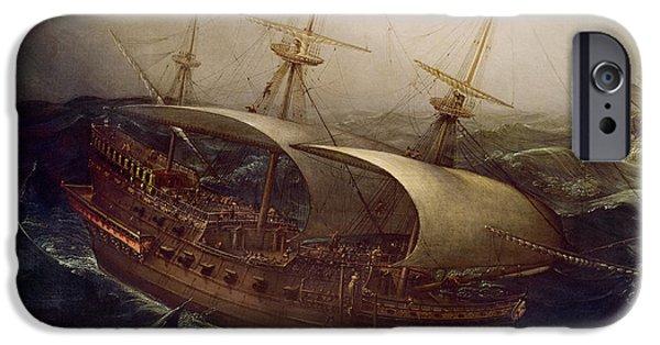 Dutch Battleship In A Storm IPhone Case by Hendrick Cornelisz Vroom