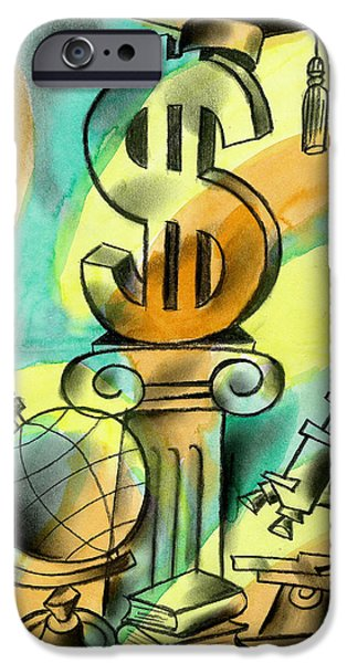 Education And Money IPhone Case by Leon Zernitsky