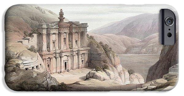 El Deir Petra 1839 IPhone Case by Munir Alawi