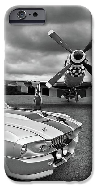 Airplane iPhone 6s Case - Eleanor Mustang With P51 Black And White by Gill Billington
