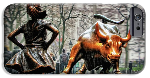 Bull iPhone 6s Case - Fearless Girl And Wall Street Bull Statues by Nishanth Gopinathan