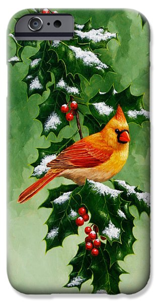 Female Cardinal And Holly Phone Case IPhone 6s Case by Crista Forest