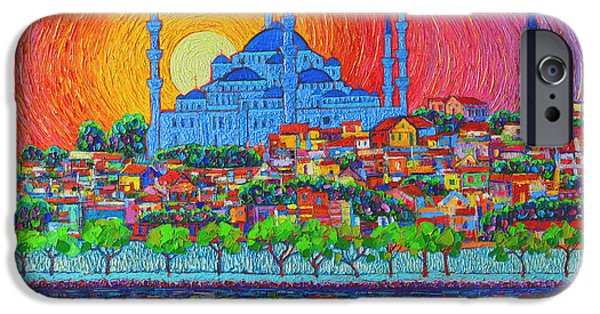 Fiery Sunset Over Blue Mosque Hagia Sophia In Istanbul Turkey IPhone 6s Case