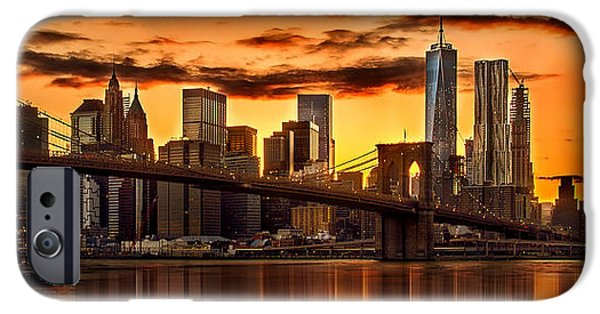 Fiery Sunset Over Manhattan  IPhone 6s Case by Az Jackson