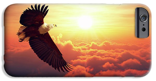 Eagle iPhone 6s Case - Fish Eagle Flying Above Clouds by Johan Swanepoel