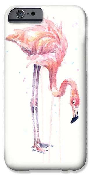 Flamingo Illustration Watercolor - Facing Left IPhone 6s Case by Olga Shvartsur
