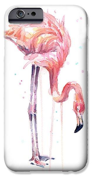 Flamingo iPhone 6s Case - Flamingo Painting Watercolor by Olga Shvartsur