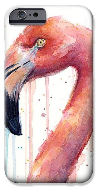 Flamingo iPhone 6s Case - Flamingo Watercolor Illustration by Olga Shvartsur