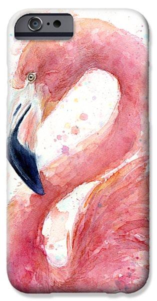 Birds iPhone 6s Case - Flamingo Watercolor Painting by Olga Shvartsur
