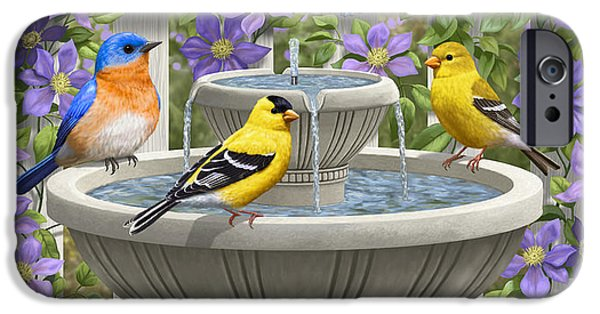 Fountain Festivities - Birds And Birdbath Painting IPhone 6s Case