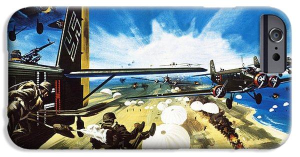 German Paratroopers Landing On Crete During World War Two IPhone 6s Case by Wilf Hardy